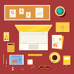Illustration of workplace of accountant, economist, office worke