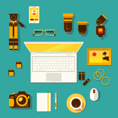 Illustration of workplace of photographer