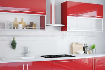 Moderne Küchenzeile in rot