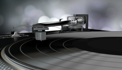 vinyl player with a vinyl disk