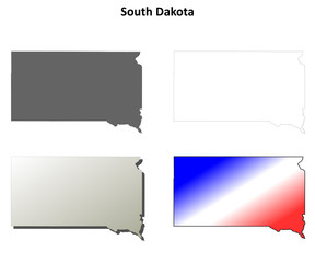South Dakota blank outline map set