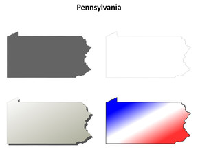 Pennsylvania blank outline map set