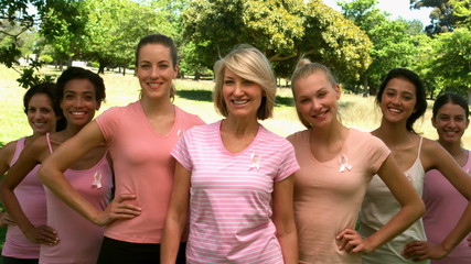 Group of women wearing pink for breast cancer in the park