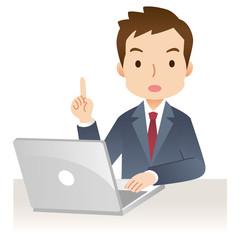 ビジネスマン 表情 PC
