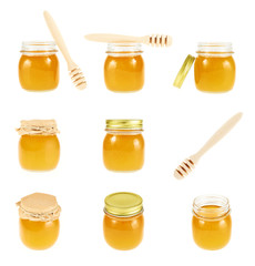 Set of honey jar images
