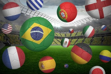 Footballs in various flag colours