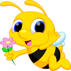Cute bee cartoon flying while carrying flowers