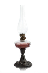 Kerosene lamp isolated on the white