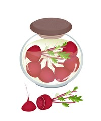Jar of Pickled Radishes Or Beets with Malt Vinegar