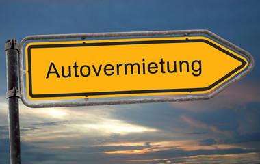 Strassenschild 19 - Autovermietung