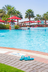 Flip flops at at the swimming pool area