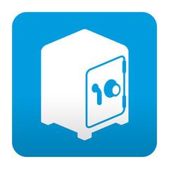 Etiqueta tipo app azul simbolo caja fuerte