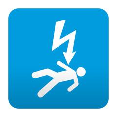 Etiqueta tipo app azul simbolo descarga electrica