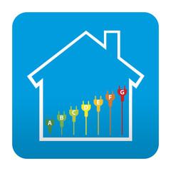 Etiqueta tipo app azul simbolo eficiencia energetica