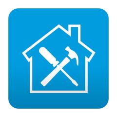 Etiqueta tipo app azul simbolo trabajos domesticos