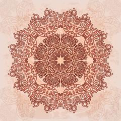Round openwork abstract element. Vintage banner ethnic pattern