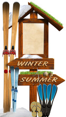 Winter Summer Wooden Signage