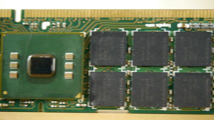 Computer ram chips on a circuit board.