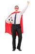 Man in superhero costume holding a football