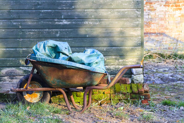 Old rusty wheelbarrow