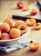 Fresh organic apricots on the table