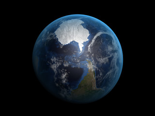 3D render the planet Earth on a black background, high resolutio