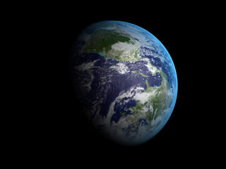 3D rendering of the planet Earth on a starry background, high re