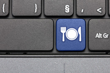 Restaurant. Blue hot key on computer keyboard.