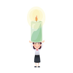 Business woman with candle over isolated white background