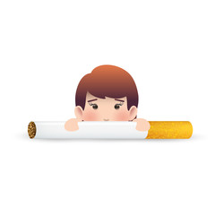 Business woman with cigarette over isolated white background