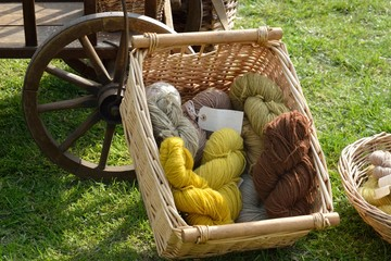 Natural dyed wool in wicker basket