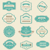 Fototapety Vintage and retro badges design with sample text (vector)