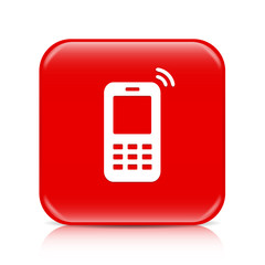 Red mobile phone button, icon