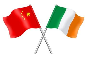 Flags: China and Ireland