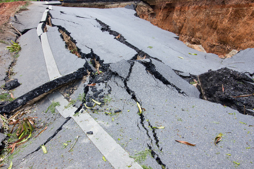 broken road by an earthquake in Chiang Rai, thailand - 64716294