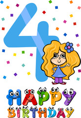 fourth birthday cartoon design