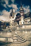 View of Peles Castle Tower, Sinaia Romania, Vintage Coaster poster
