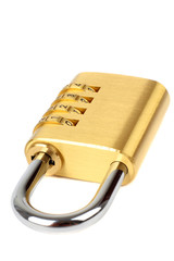 padlock with combination code, isolated on white background.