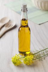 Rapeseed oil in a bottle