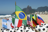 International Football Country Flags Soccer Balls Rio Brazil poster