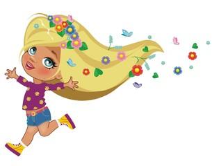 Девочка в венке из полевых цветов