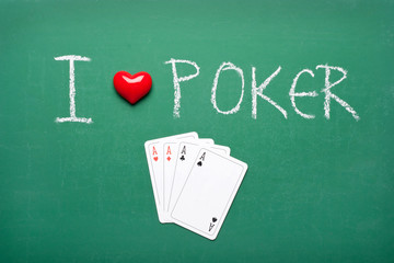 I love poker on green playing table
