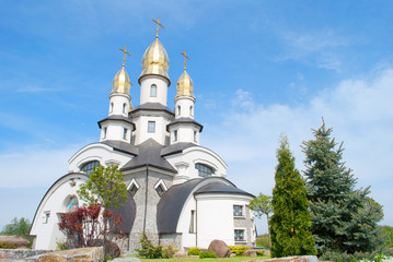 beautiful orthodox church in sunny day, village Buki, Ukraine