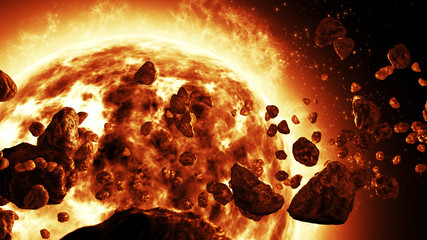 Sun attacked by Asteroids