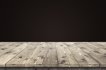 Empty wooden table for product placement or montage with focus