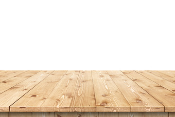 Empty wooden table in a sun drenched summer garden for product