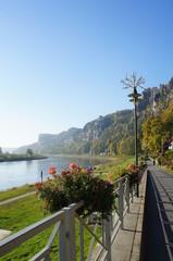 Promenade in der Sächsischen Schweiz entlang der Elbe