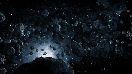 Meteorites flying through Space
