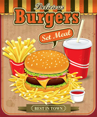 Vintage Burgers with fries and drink set poster design