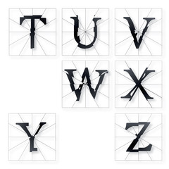 Broken Letters Alphabet Part from T to Z